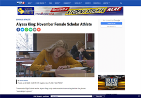 Senior Alyssa King named Ch. 4 Female Scholar Athlete